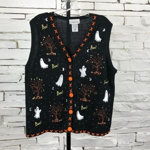 Halloween Vest Cardigan Beaded Xlarge  1719